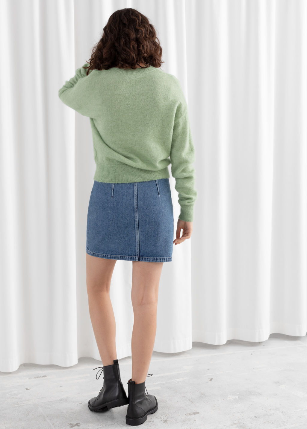 Model back image of Stories fuzzy sweater in green