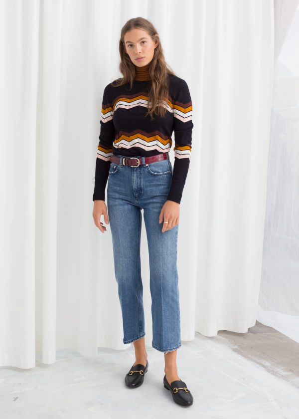 High Cropped Kick Flare Jeans