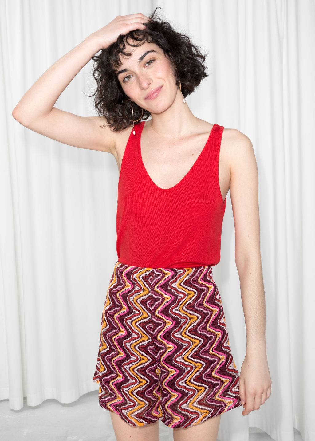 Model front image of Stories ribbed scoop tank top in red