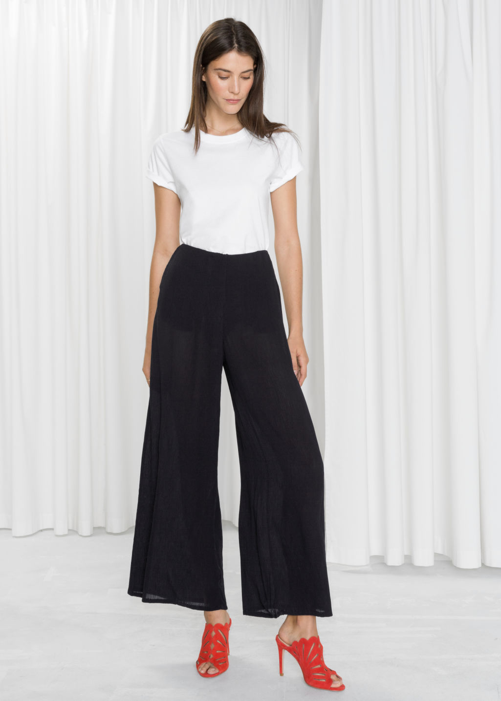 Model front image of Stories wide crepe trousers in black