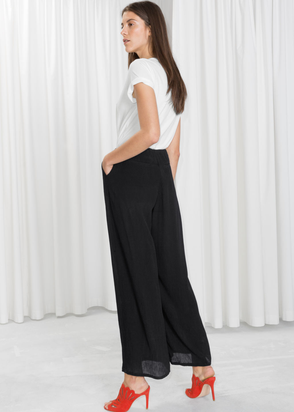 Model back image of Stories wide crepe trousers in black
