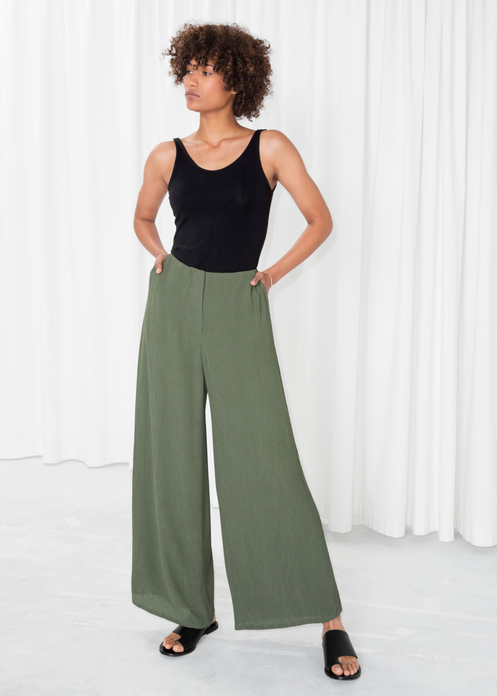 Model front image of Stories wide crepe trousers in green