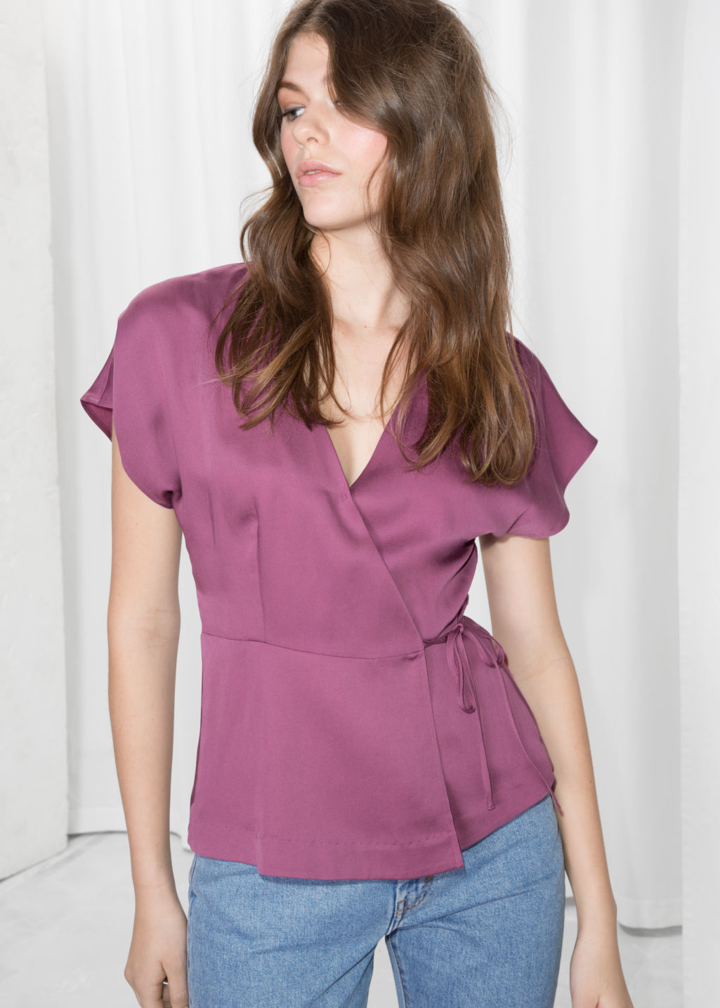 Model front image of Stories satin wrap tie blouse  in pink