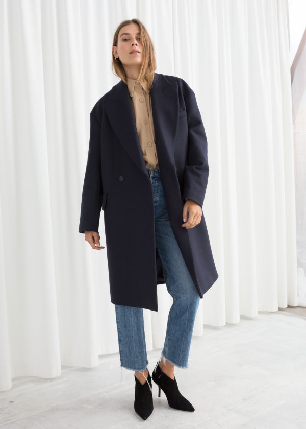Wool Blend Straight Coat