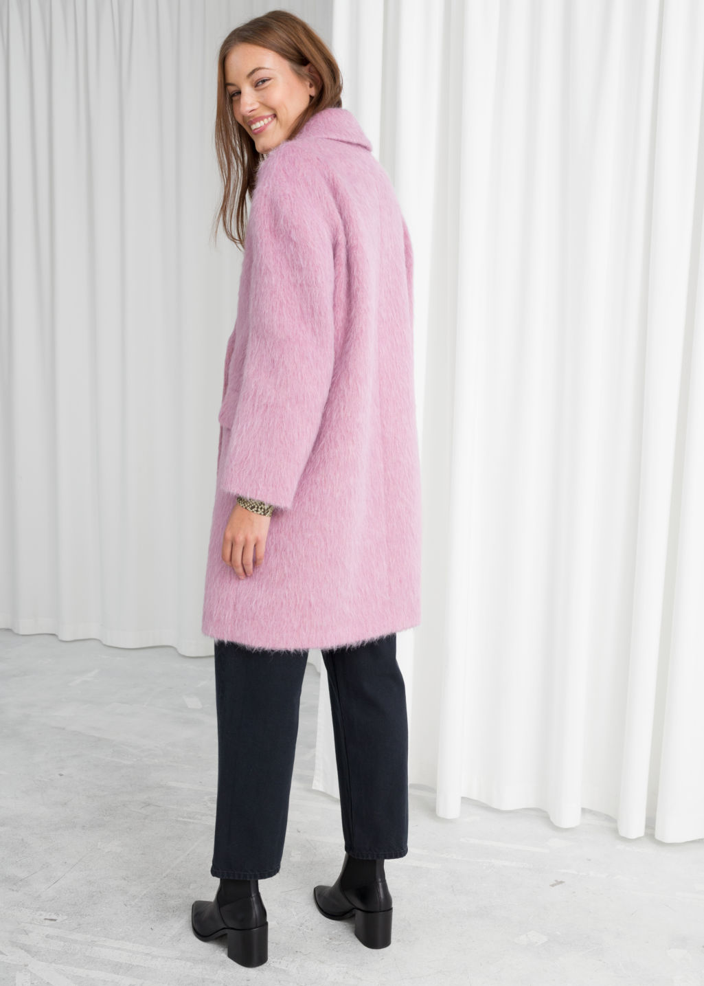 Model back image of Stories wool blend straight coat in pink