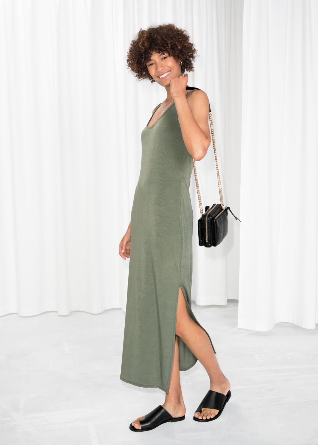 Model front image of Stories scoop neck midi dress in green