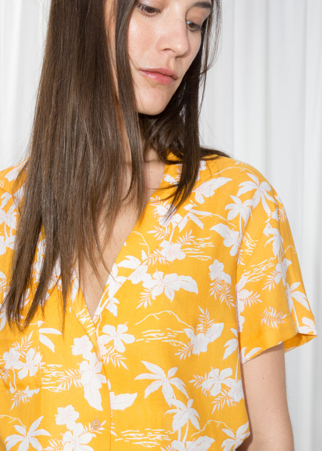 Model back image of Stories tropical print shirt in yellow