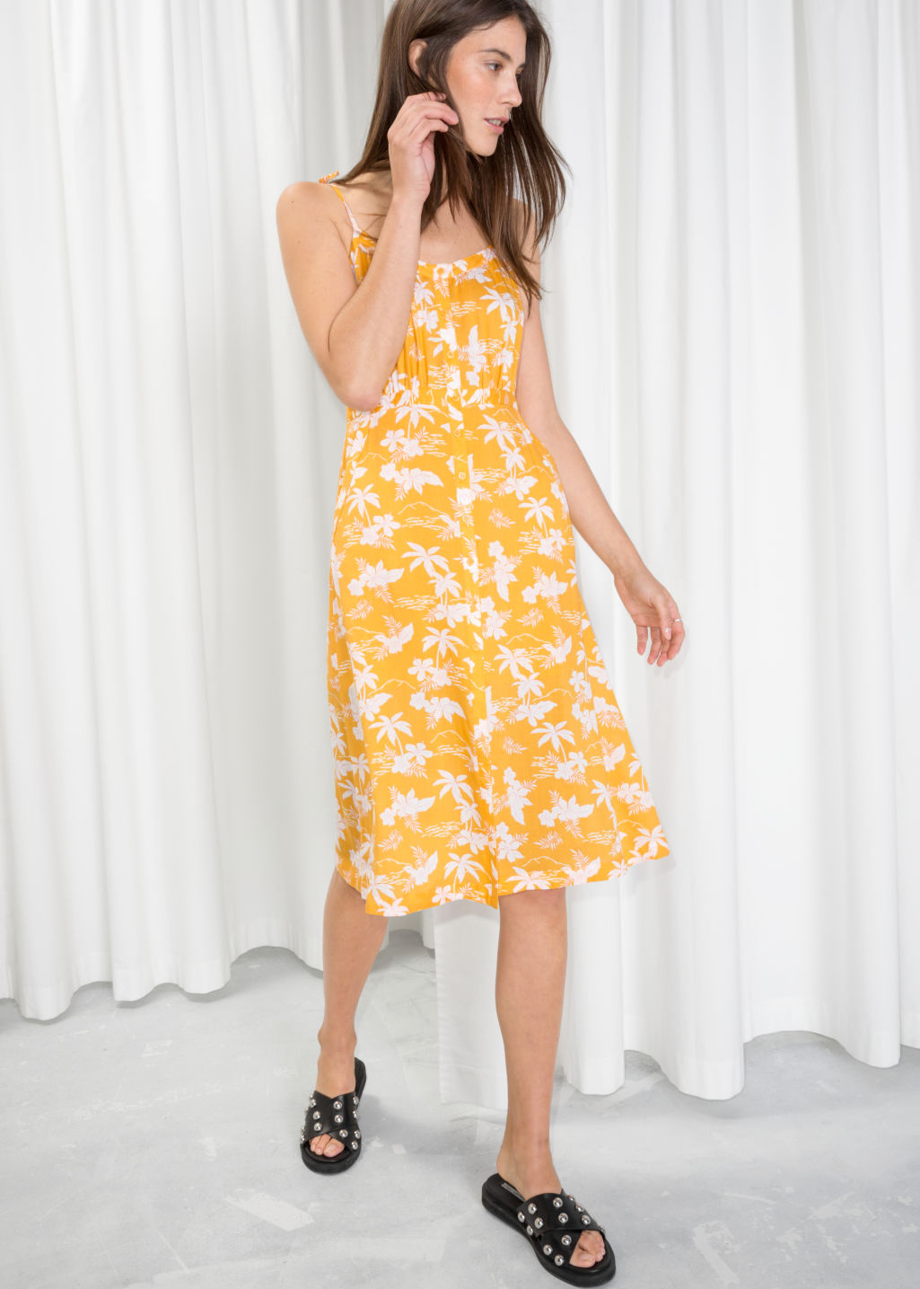 74b389d66294 Model front image of Stories tropical print sundress in yellow ...