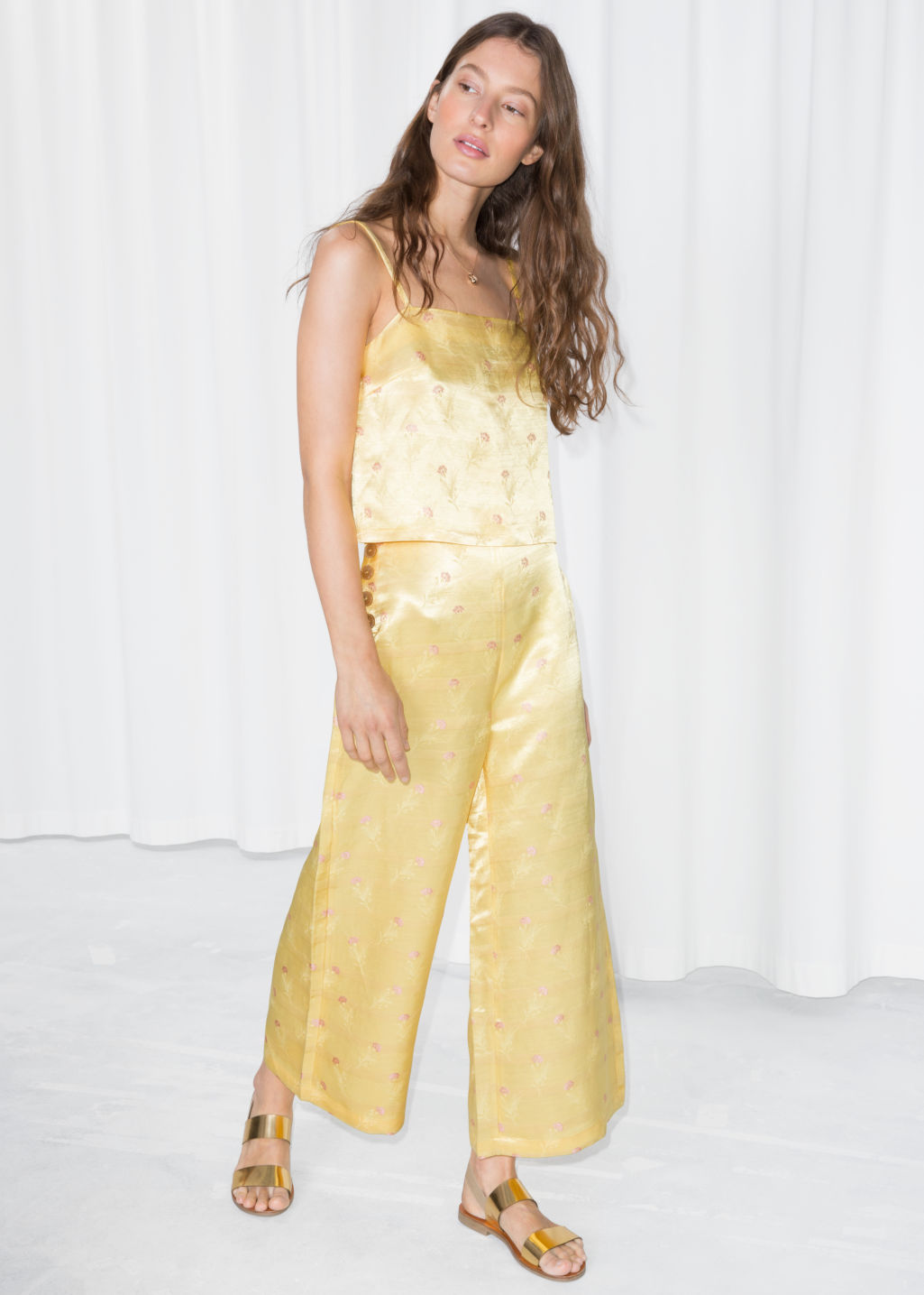 Model front image of Stories floral satin wide trousers in yellow