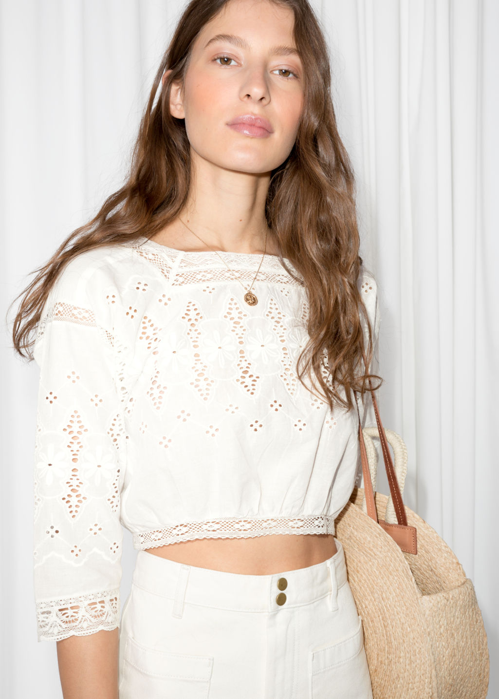 Model back image of Stories cropped eyelet lace blouse in white