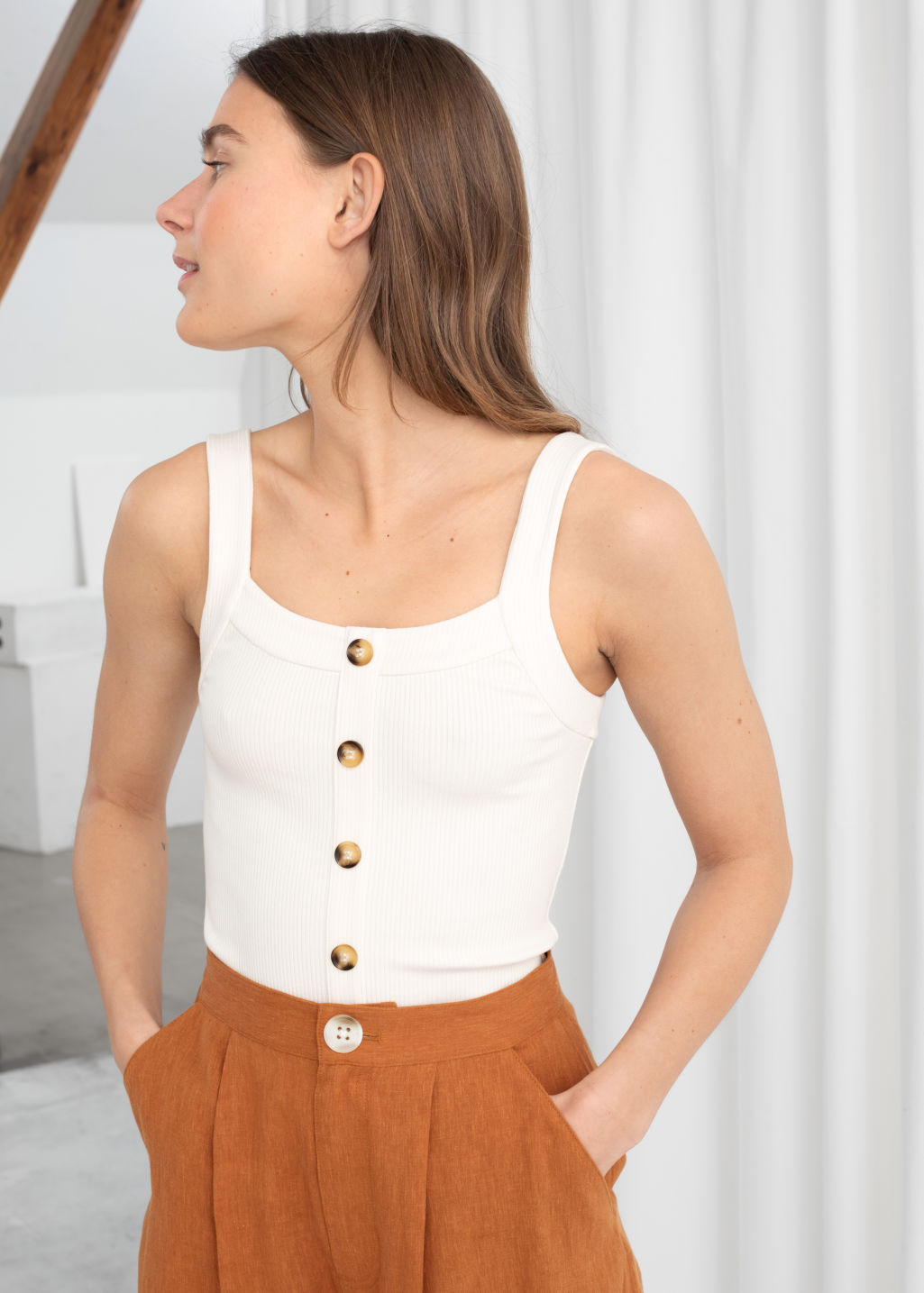 Model front image of Stories ribbed tank top  in white