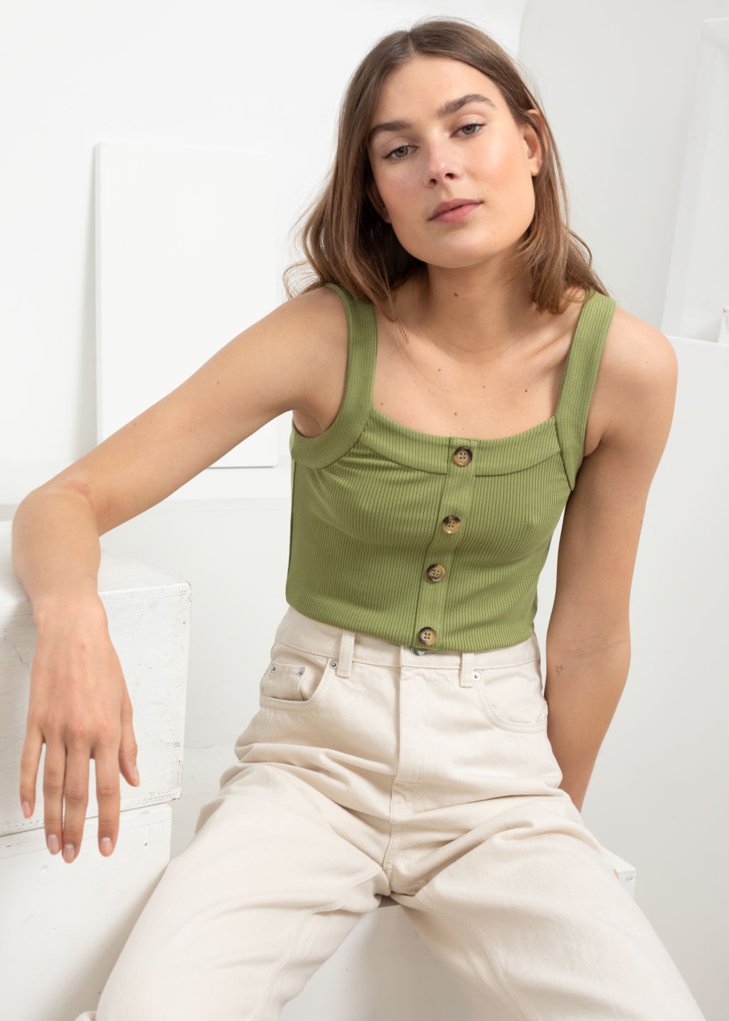 Model front image of Stories ribbed tank top  in green