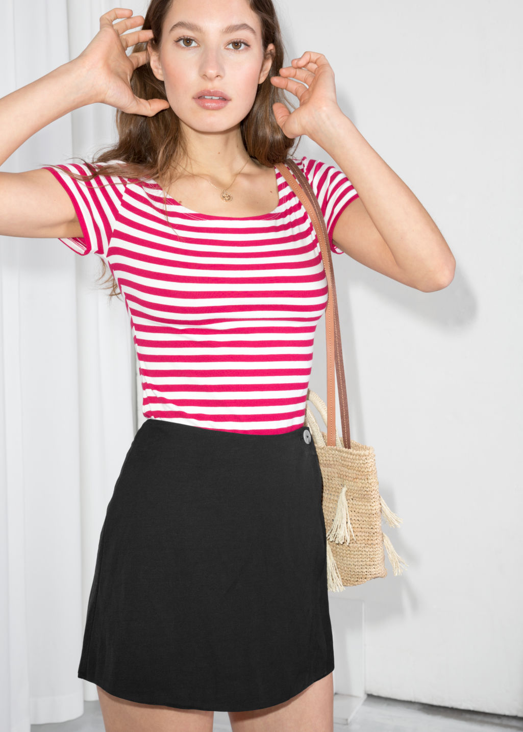 Model front image of Stories striped boatneck tee in red