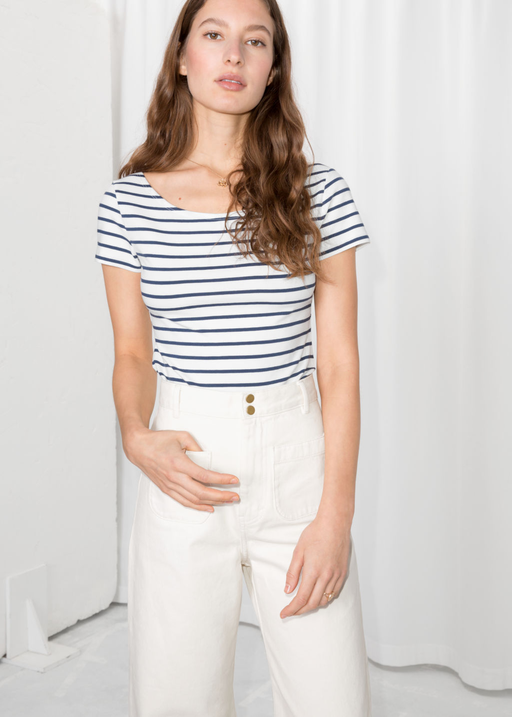 Model front image of Stories striped boatneck tee in blue