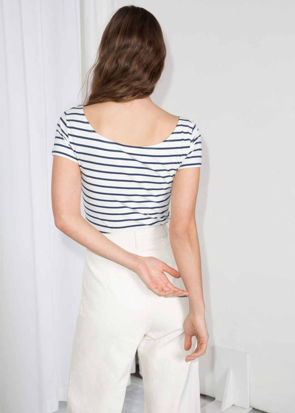 Model back image of Stories striped boatneck tee in blue