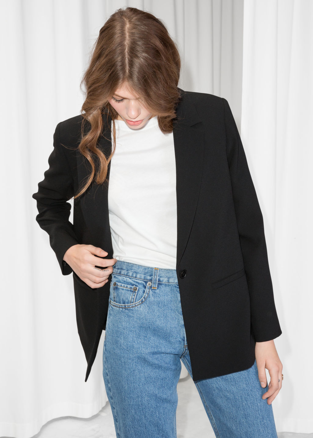 Model front image of Stories fitted long blazer  in black