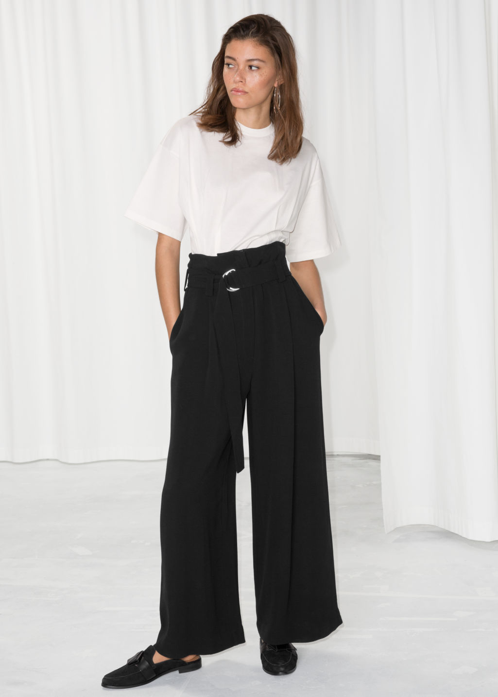 Model front image of Stories belted wide trousers in black
