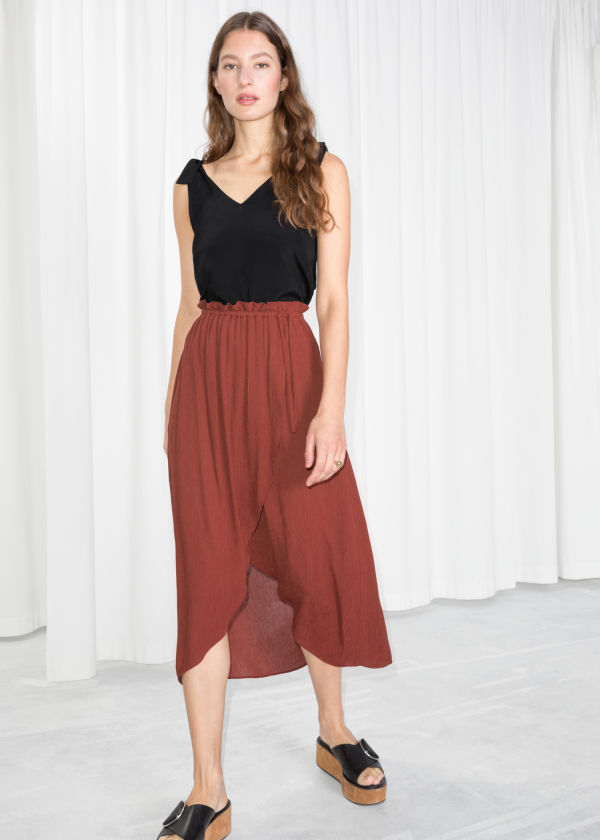 Paperbag Waist Wrap Skirt