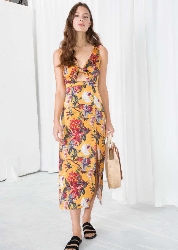 Tropical Cutout Midi Dress