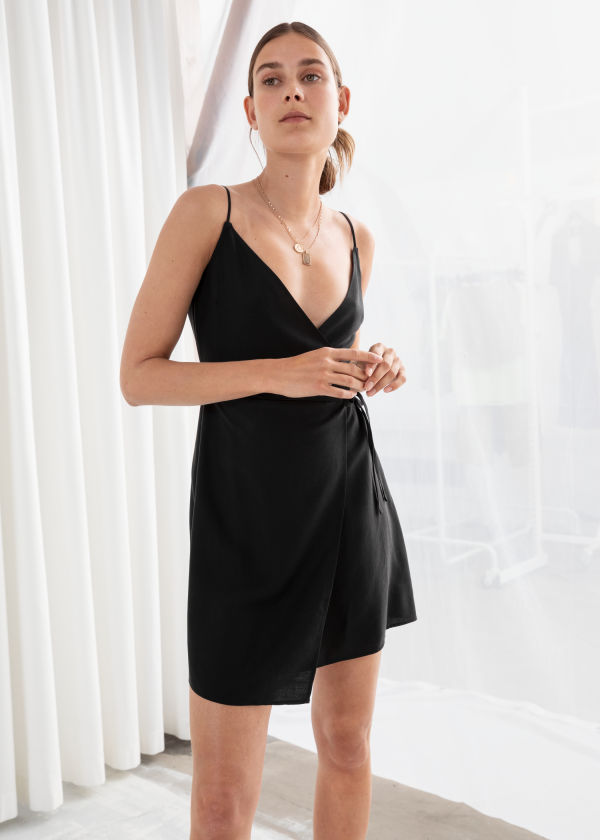 Asymmetric Wrap Mini Dress