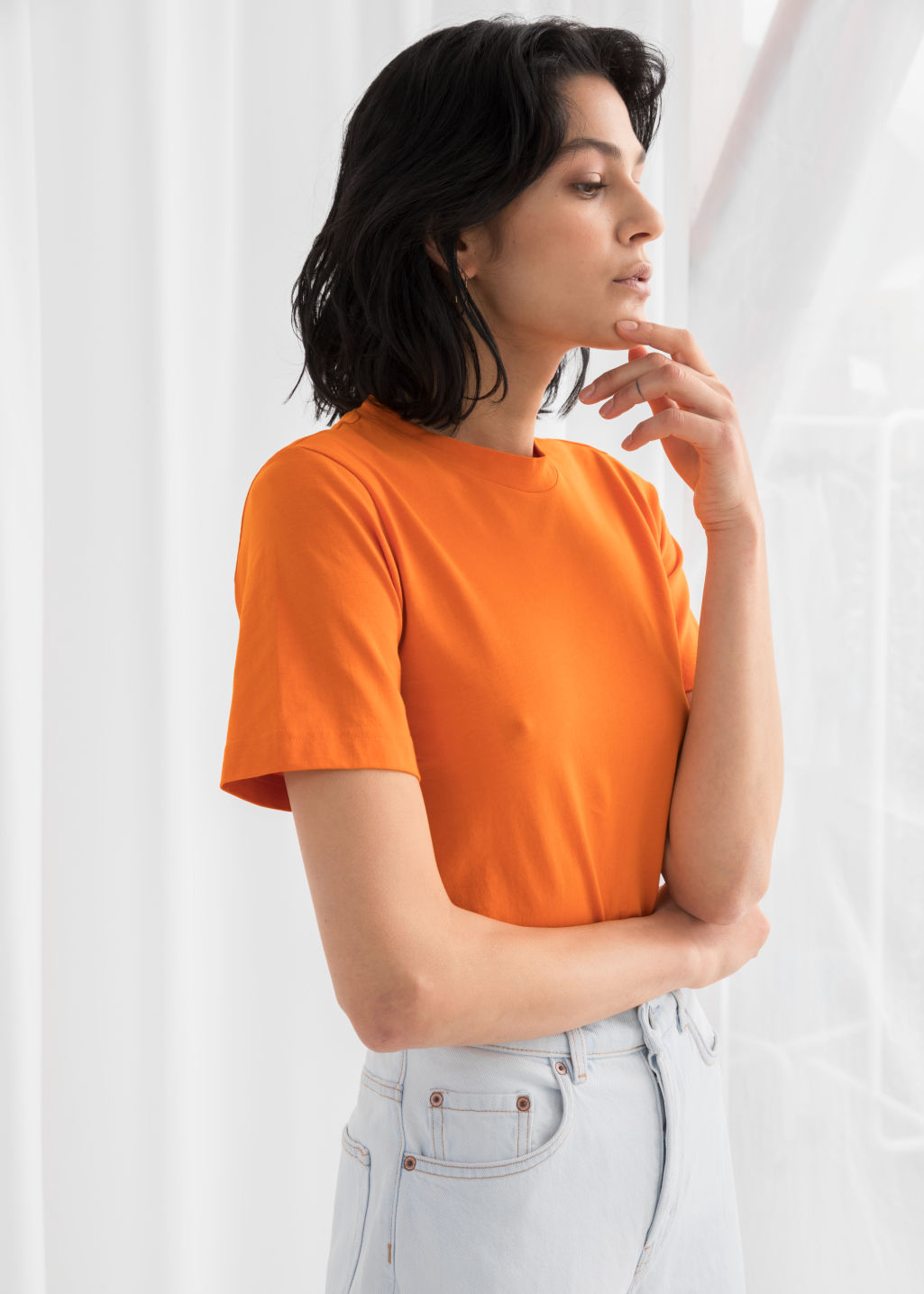 Model front image of Stories basic straight fit t-shirt in orange