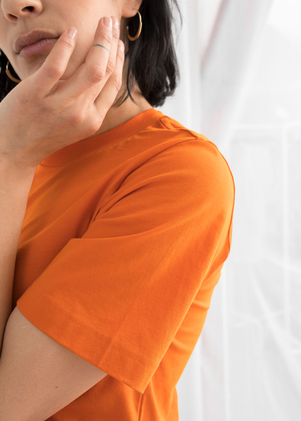 Model back image of Stories basic straight fit t-shirt in orange