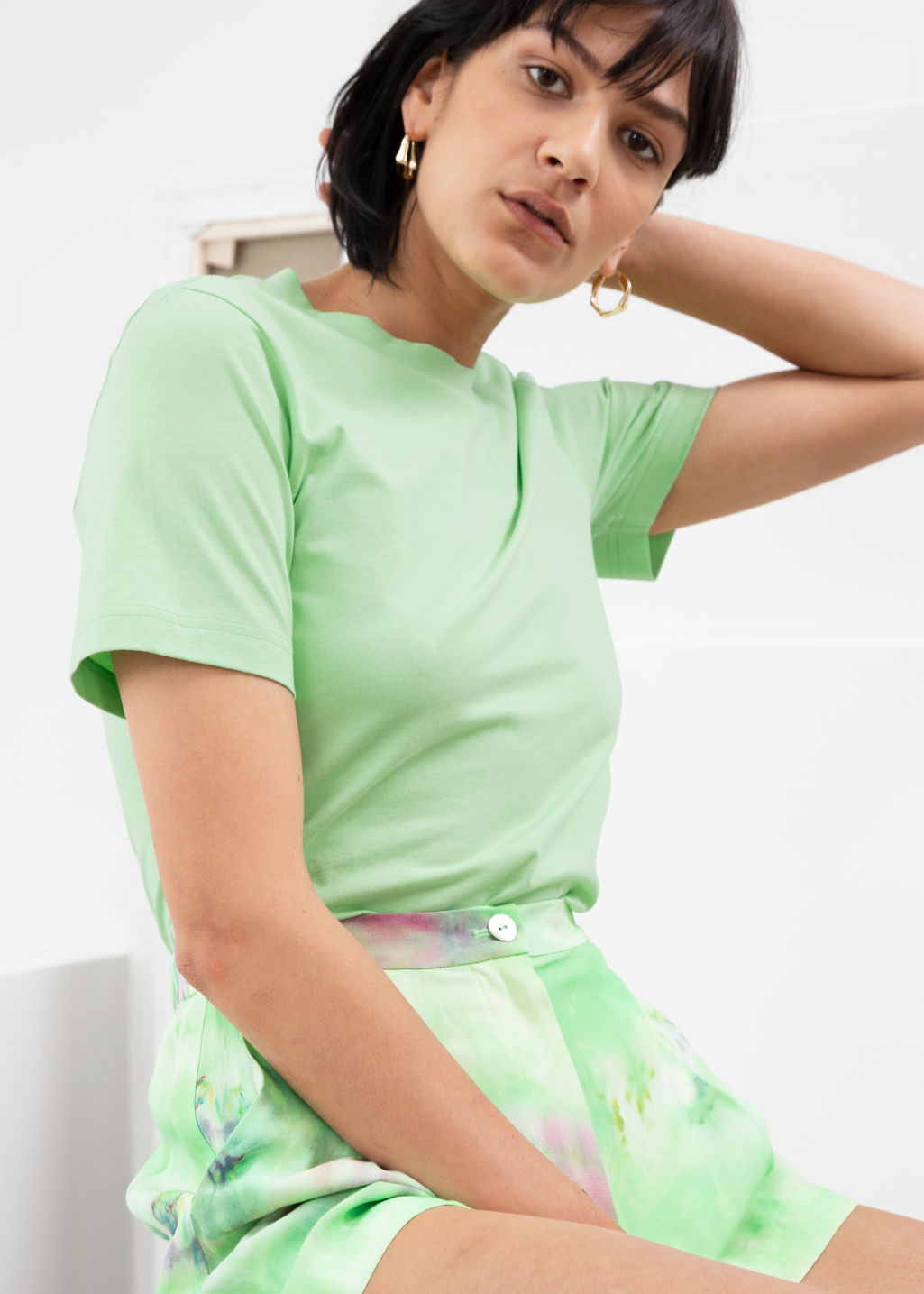 Model front image of Stories basic straight fit t-shirt in green