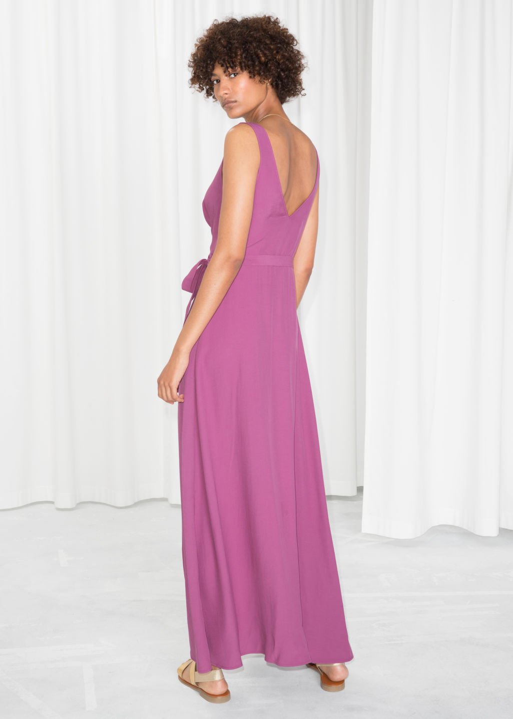 Model back image of Stories maxi wrap dress in pink