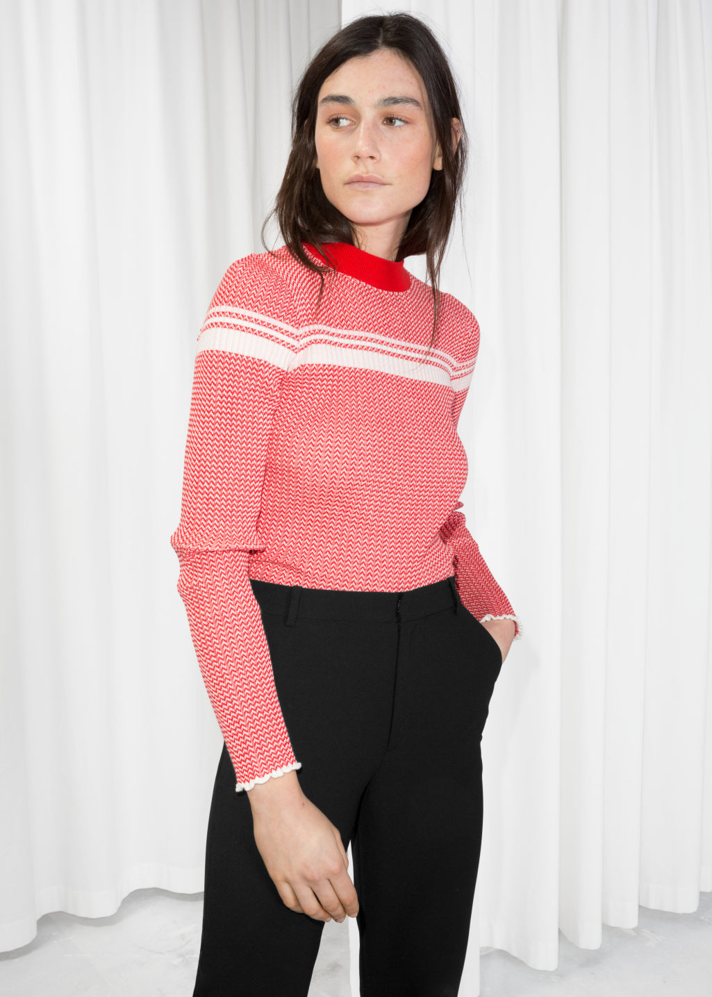 Model front image of Stories striped melange top  in red