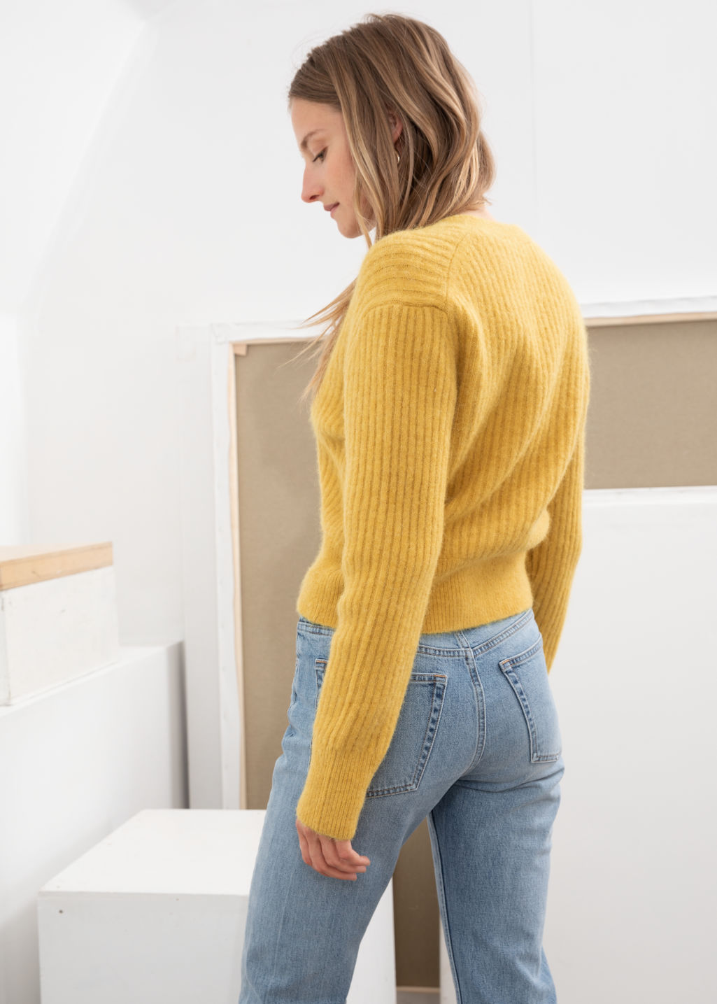 Model back image of Stories wool blend cardigan in yellow