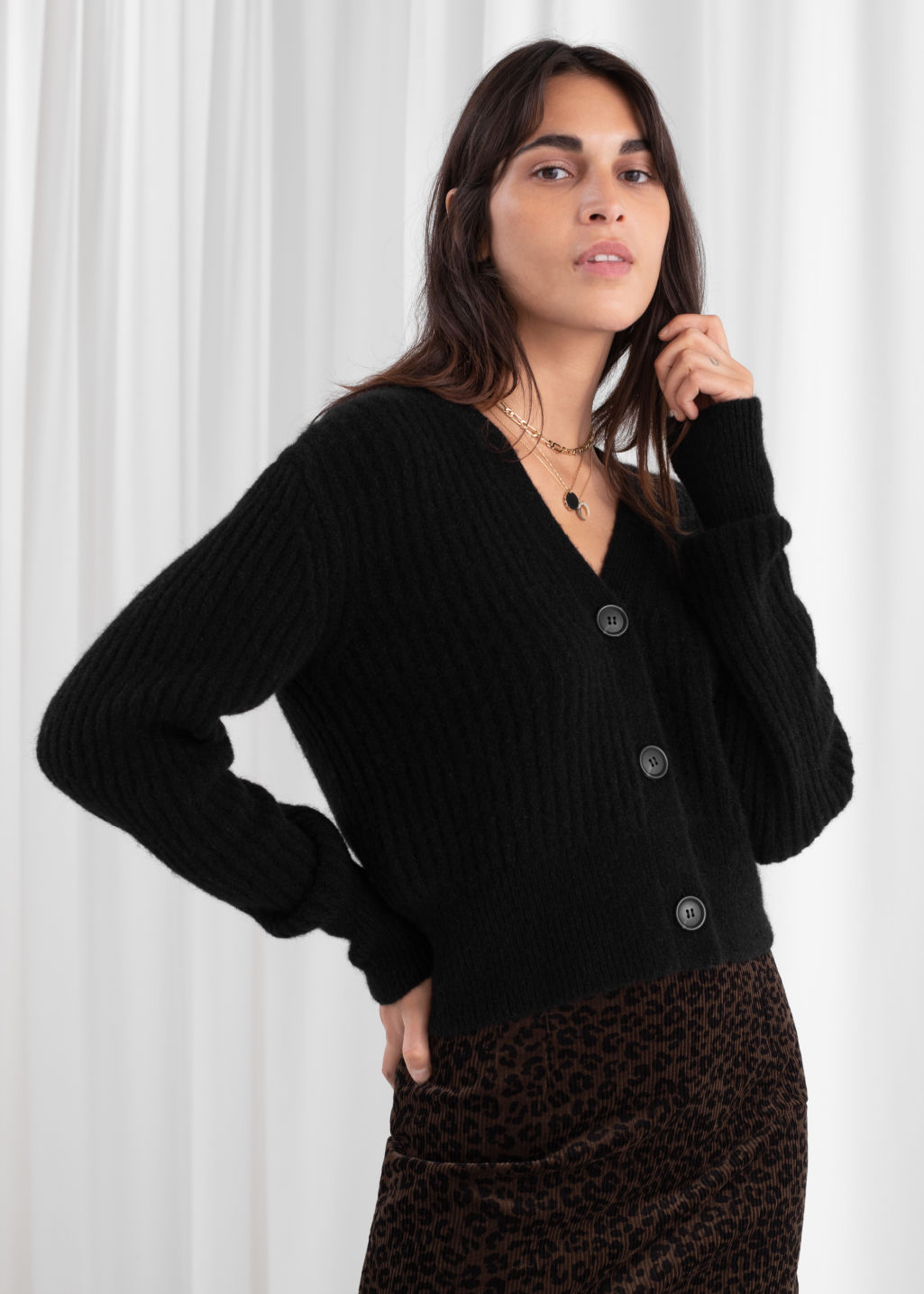Wool Blend Cardigan Black Cardigans & Other Stories