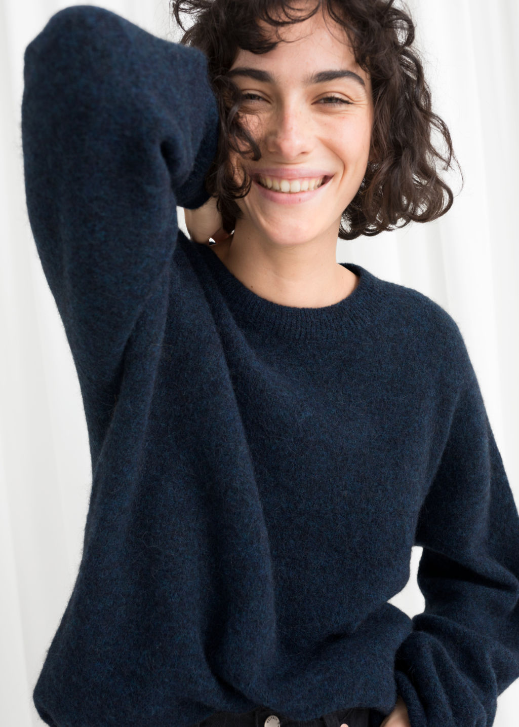 Model front image of Stories alpaca blend sweater in blue