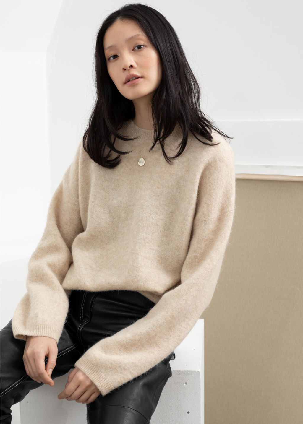 e451a6d52 Model front image of Stories alpaca blend sweater in beige ...