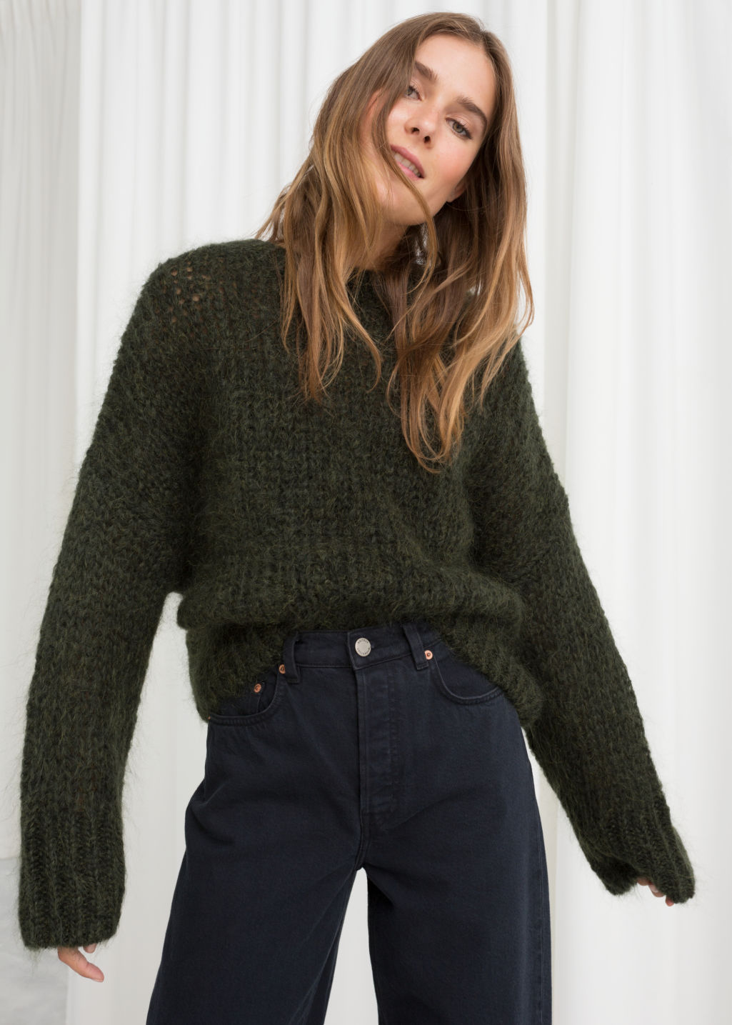 Model front image of Stories wool blend chunky knit sweater in green