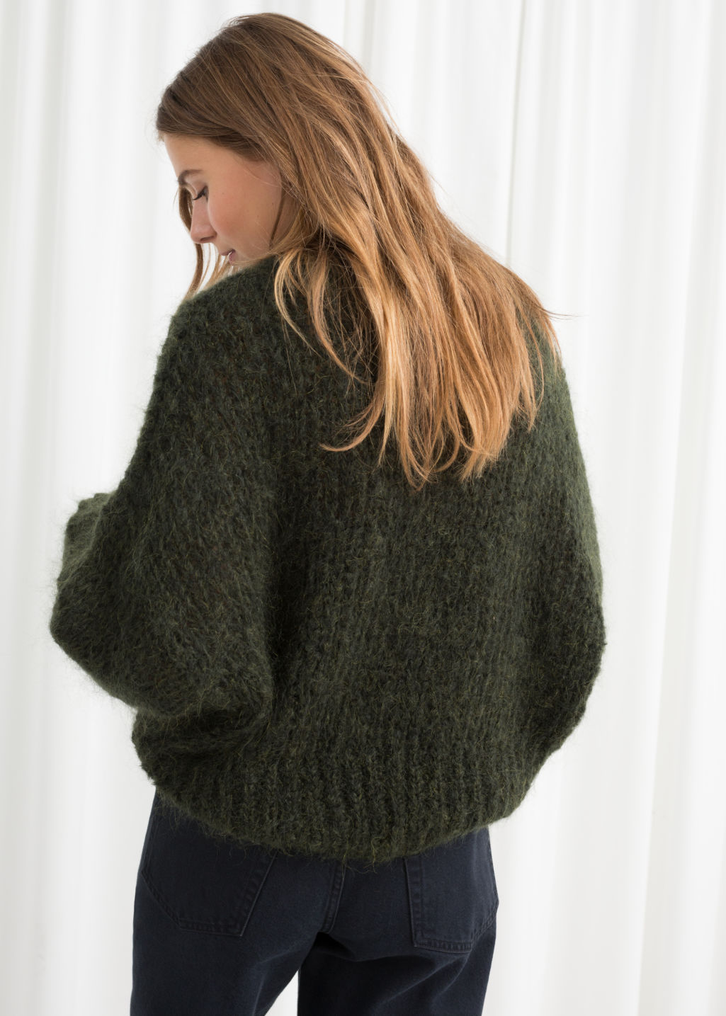 Model back image of Stories wool blend chunky knit sweater in green