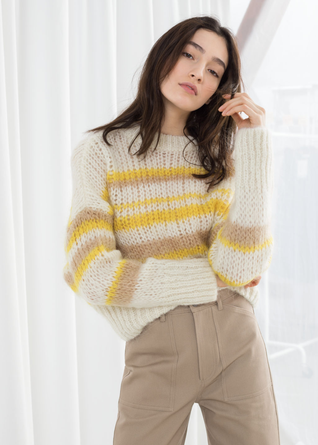 Model front image of Stories wool blend chunky knit sweater in white