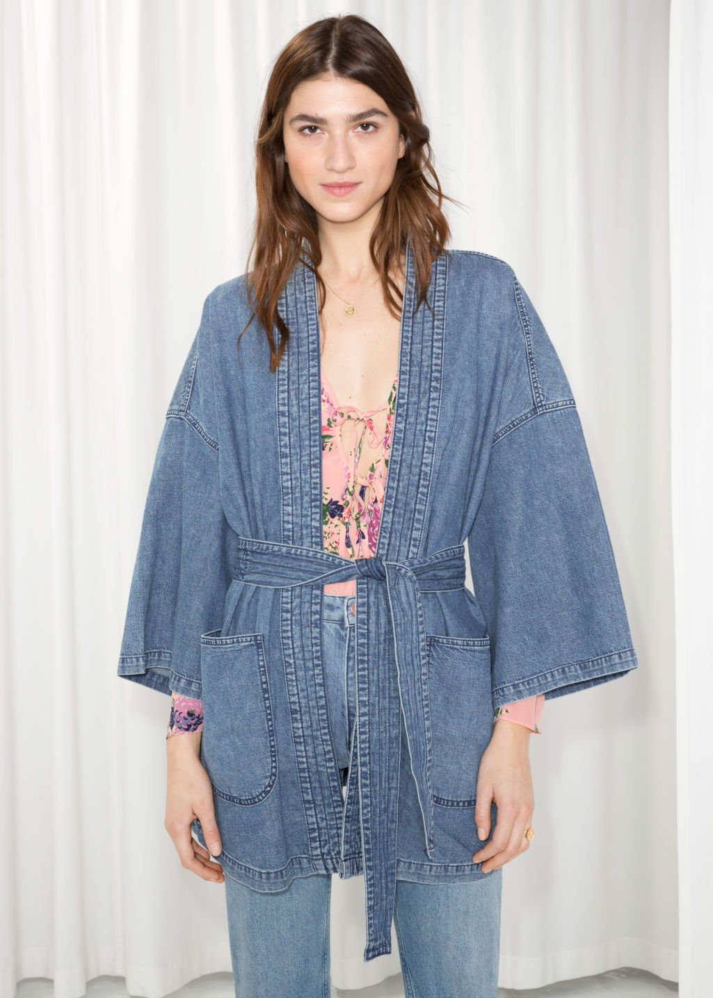Model front image of Stories denim kimono in blue