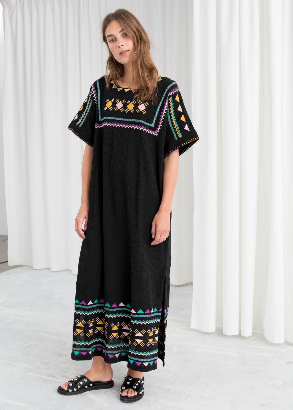 Model front image of Stories embroidered belted kaftan dress in black