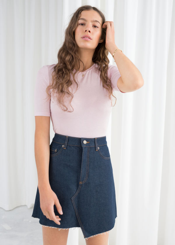 Asymmetric Raw Edge Denim Skirt