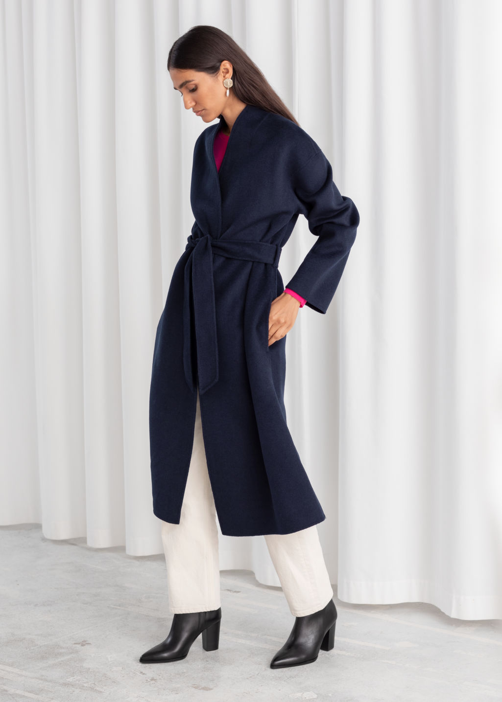 Model front image of Stories belted wool blend coat in blue
