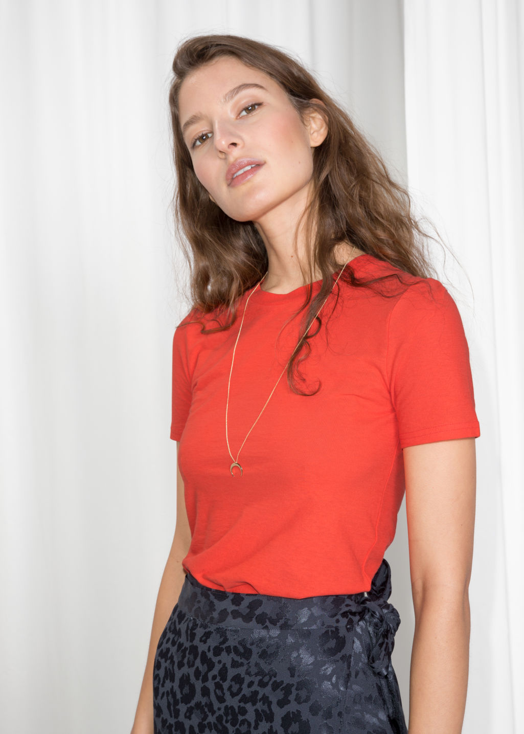 Model front image of Stories fitted crewneck tee in orange