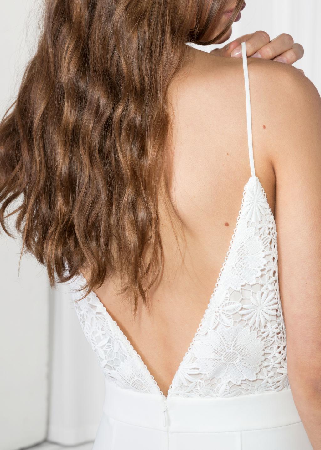 Model back image of Stories lace culotte jumpsuit  in white