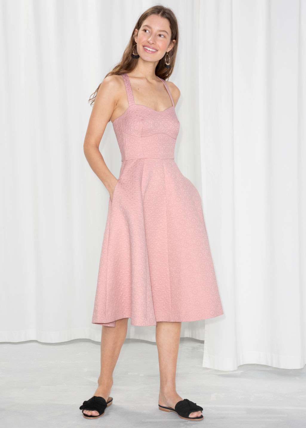 Model Front Image Of Stories Cross Strap Tea Dress In Pink