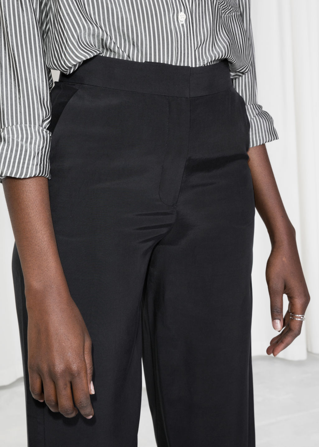 Model back image of Stories straight fit trousers in black