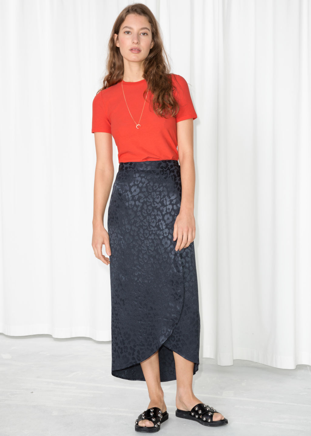Model front image of Stories jacquard leopard midi skirt  in blue