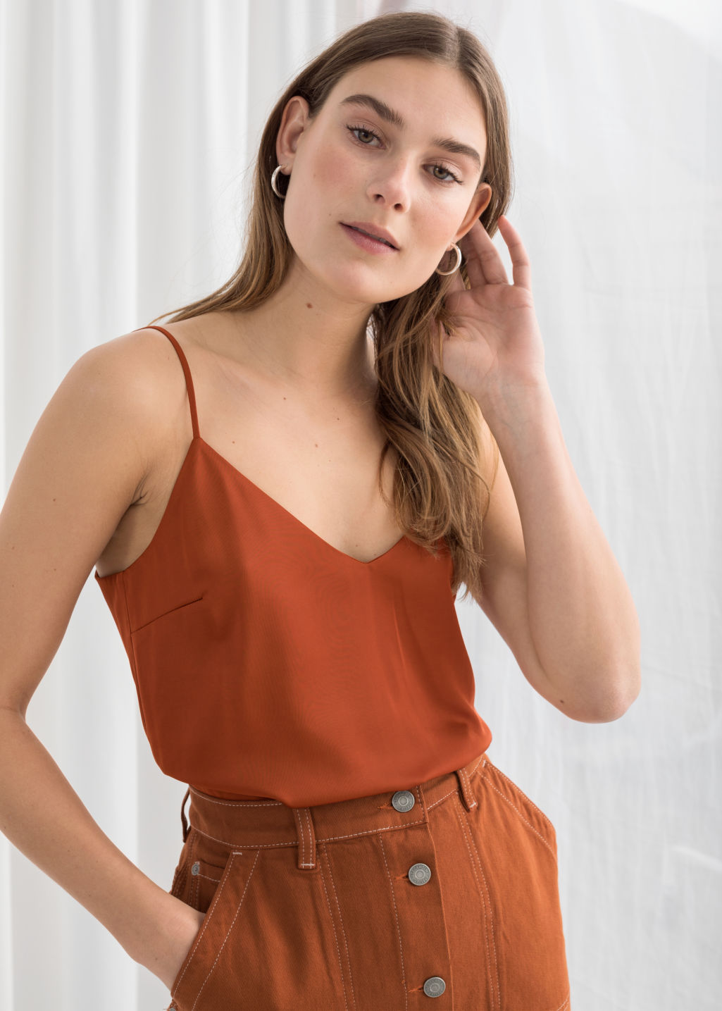 Model front image of Stories slip tank top  in orange