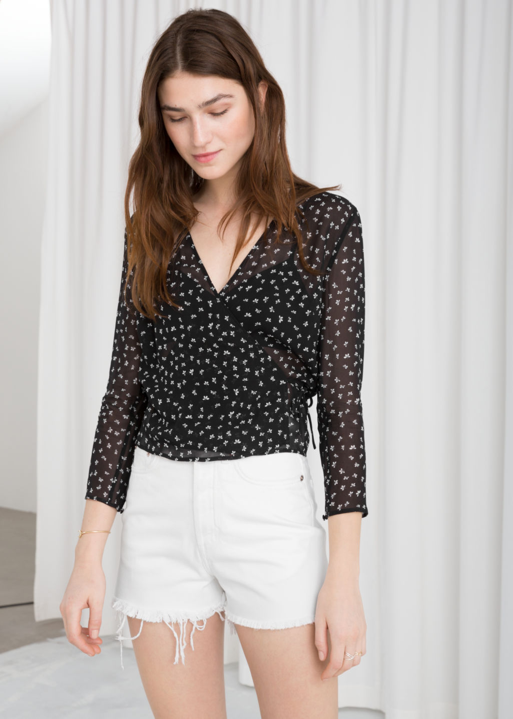 Sheer Wrap Blouse - Micro Floral - Blouses -   Other Stories 13e78cc09