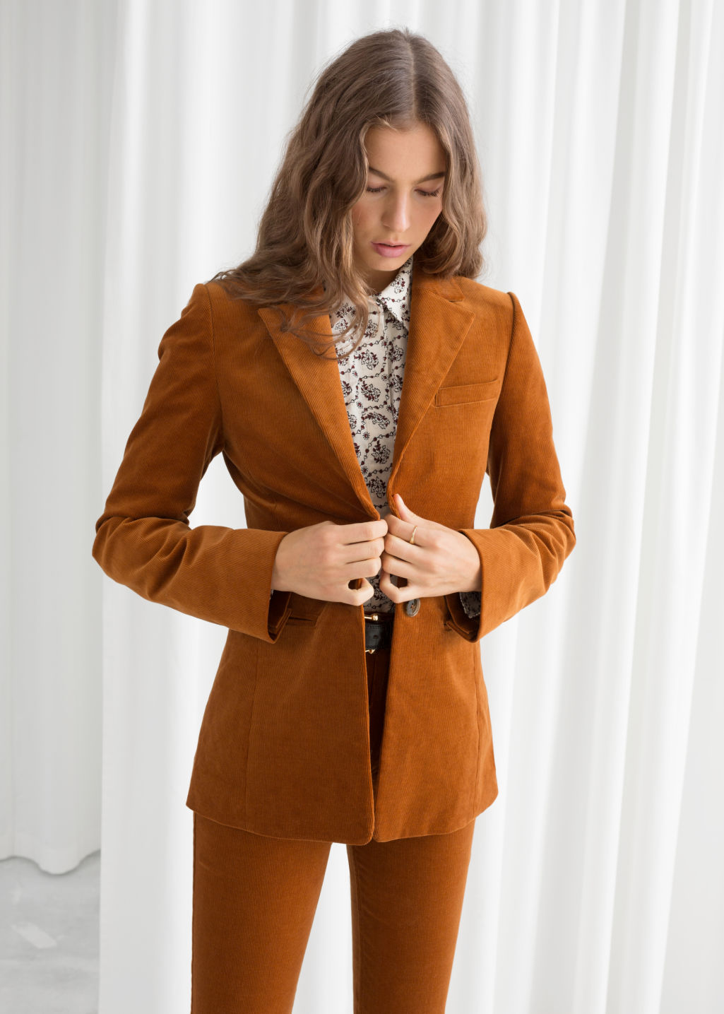 Model front image of Stories corduroy blazer in orange