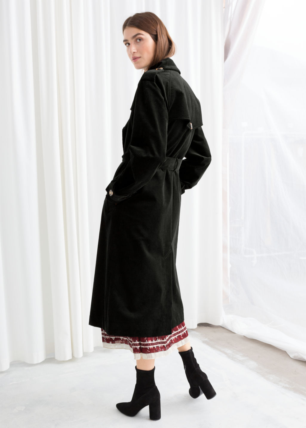 Model back image of Stories belted cotton cord trenchcoat in black