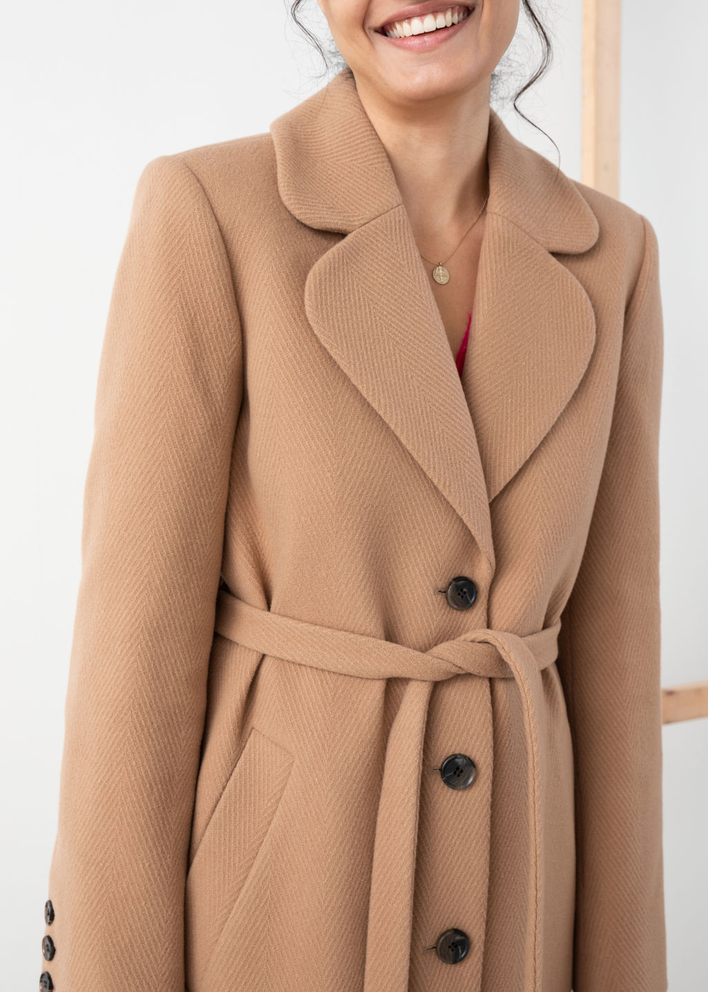 Model front image of Stories a-line wool blend belted coat in yellow